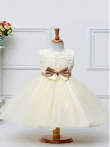 Champagne Ball Gowns Scoop Sleeveless Tulle Knee Length Zipper Lace and Bowknot Little Girls Pageant Dress Wholesale