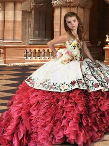 Organza Strapless Sleeveless Brush Train Lace Up Embroidery and Ruffles Little Girls Pageant Dress Wholesale in White And Red
