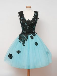 Aqua Blue Tulle Zipper Quinceanera Court Dresses Sleeveless Knee Length Lace