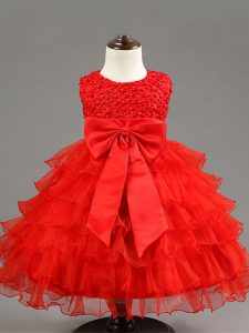 Red Ball Gowns Scoop Sleeveless Organza Knee Length Zipper Ruffled Layers and Bowknot Toddler Flower Girl Dress