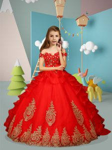 Red Tulle Lace Up Off The Shoulder Sleeveless Floor Length Girls Pageant Dresses Appliques and Embroidery
