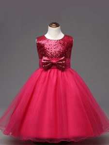 Organza Sleeveless Tea Length Girls Pageant Dresses and Sequins and Bowknot