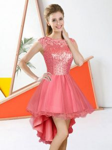 Custom Designed Bateau Sleeveless Organza Dama Dress Beading and Lace Backless
