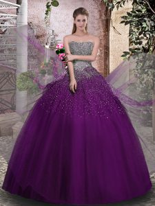 Purple Lace Up Strapless Beading Sweet 16 Quinceanera Dress Tulle Sleeveless