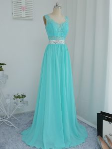 Sweep Train Empire Vestidos de Damas Aqua Blue Scoop Chiffon Sleeveless Side Zipper