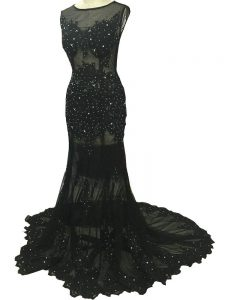 Black Side Zipper Mother of Bride Dresses Beading and Lace and Appliques Sleeveless Brush Train