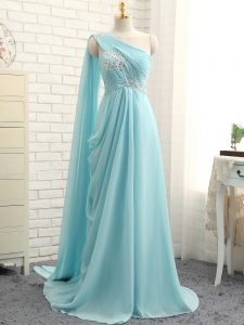 Glittering Aqua Blue Empire Beading and Ruching Court Dresses for Sweet 16 Zipper Chiffon Sleeveless