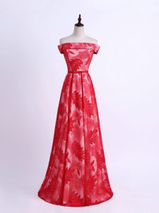 High Quality Floor Length Empire Sleeveless Red Damas Dress Lace Up