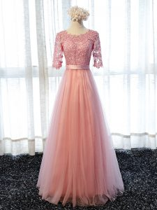 Sumptuous Tulle Half Sleeves Floor Length Damas Dress and Lace