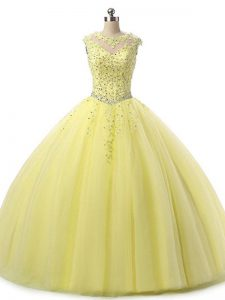 Sleeveless Floor Length Beading and Lace Lace Up Quinceanera Gown with Yellow