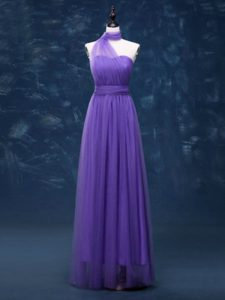 High Quality Lavender Empire Ruching Dama Dress for Quinceanera Lace Up Tulle Sleeveless Floor Length