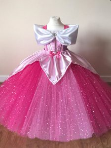 Elegant Fuchsia Tulle Zipper Off The Shoulder Short Sleeves Floor Length Little Girls Pageant Gowns Sequins