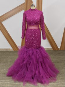 Deluxe Mermaid Mother of Groom Dress Fuchsia High-neck Tulle Long Sleeves Floor Length Zipper