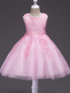 Low Price Baby Pink Tulle Zipper Scoop Sleeveless Knee Length Child Pageant Dress Appliques