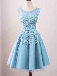 Lace Quinceanera Dama Dress Aqua Blue Zipper Sleeveless Knee Length