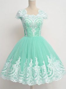 Pretty Square Cap Sleeves Court Dresses for Sweet 16 Knee Length Lace Apple Green Tulle