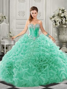 Sweetheart Sleeveless Organza Vestidos de Quinceanera Beading and Ruffles Court Train Lace Up