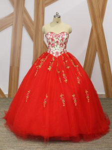 Red Sleeveless Tulle Sweep Train Lace Up Quinceanera Dress for Military Ball and Sweet 16 and Quinceanera