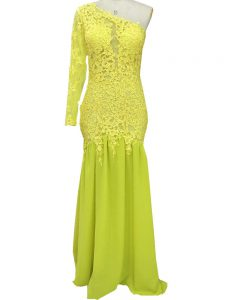 Enchanting Side Zipper Mother of Bride Dresses Yellow for Prom and Party and Beach with Lace and Appliques Brush Train
