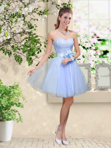 Lace and Belt Quinceanera Dama Dress Lavender Lace Up Sleeveless Knee Length
