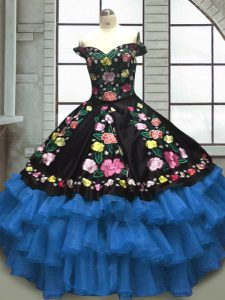 Extravagant Sweetheart Sleeveless Sweet 16 Quinceanera Dress Floor Length Embroidery and Ruffled Layers Blue And Black Organza and Taffeta