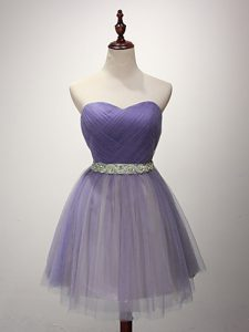Classical Lavender Sweetheart Lace Up Beading and Ruching Damas Dress Sleeveless