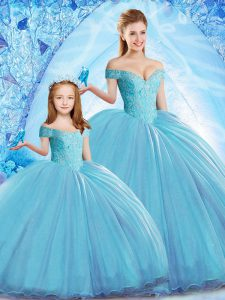 Low Price Baby Blue Off The Shoulder Neckline Beading Quinceanera Dress Sleeveless Lace Up