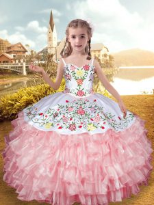 Baby Pink Sleeveless Organza and Taffeta Lace Up Girls Pageant Dresses for Party