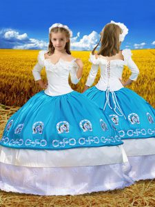 Blue And White Ball Gowns Embroidery and Ruffles Pageant Gowns For Girls Lace Up Taffeta 3 4 Length Sleeve Floor Length