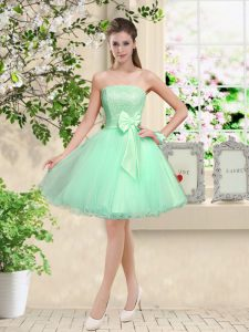 Sleeveless Knee Length Lace and Belt Lace Up Court Dresses for Sweet 16 with Apple Green
