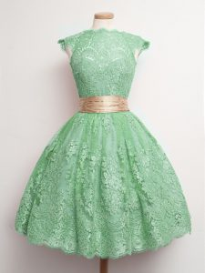 Cap Sleeves Lace Knee Length Lace Up Court Dresses for Sweet 16 in Green with Belt