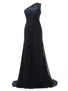 Most Popular Chiffon One Shoulder Sleeveless Brush Train Side Zipper Lace Quinceanera Court Dresses in Black