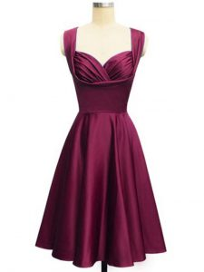 Burgundy Empire Straps Sleeveless Taffeta Knee Length Lace Up Ruching Quinceanera Court of Honor Dress