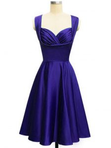 Empire Dama Dress for Quinceanera Purple Straps Taffeta Sleeveless Knee Length Lace Up