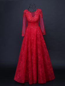 Fancy Long Sleeves Floor Length Lace and Appliques Lace Up Mother Dresses with Red