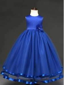 Latest Royal Blue Tulle Zipper Kids Pageant Dress Sleeveless Floor Length Hand Made Flower