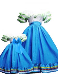 New Style Baby Blue Lace Up Off The Shoulder Ruffled Layers Quinceanera Gowns Taffeta Sleeveless
