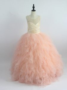 Floor Length Peach Pageant Gowns For Girls Tulle Sleeveless Appliques and Ruffles