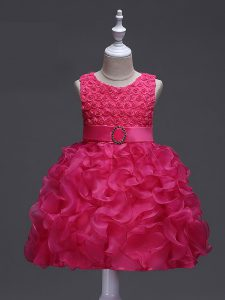 Sleeveless Knee Length Ruffles and Belt Lace Up Little Girls Pageant Gowns with Hot Pink