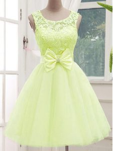 Yellow Green Sleeveless Knee Length Lace and Bowknot Lace Up Dama Dress