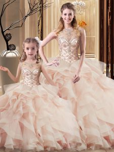 Peach Tulle Lace Up Scoop Sleeveless Sweet 16 Dresses Brush Train Beading and Ruffles