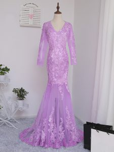 Lilac V-neck Side Zipper Lace and Appliques Mother of Groom Dress Brush Train Long Sleeves