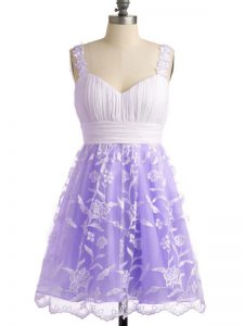 Modest Lavender Sleeveless Lace Lace Up Dama Dress for Quinceanera for Prom and Party and Wedding Party