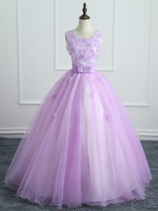 On Sale Lavender Organza Lace Up Quinceanera Dress Sleeveless Floor Length Lace and Appliques and Bowknot