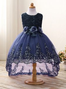 Perfect Navy Blue Ball Gowns Scoop Sleeveless Tulle High Low Zipper Lace and Appliques and Bowknot and Hand Made Flower Kids Formal Wear