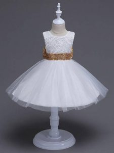 Cute White Zipper Scoop Lace and Bowknot Pageant Dress for Teens Tulle Sleeveless