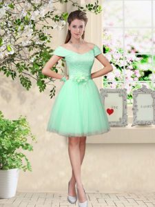 Cheap Apple Green A-line Tulle V-neck Cap Sleeves Belt Knee Length Lace Up Quinceanera Dama Dress