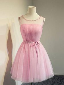 Tulle Sleeveless Knee Length Quinceanera Dama Dress and Belt
