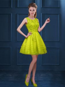 Yellow Green Scoop Zipper Lace and Ruffled Layers Dama Dress for Quinceanera Sleeveless