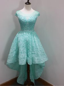 Eye-catching Beading and Lace Dama Dress Aqua Blue Zipper Cap Sleeves High Low